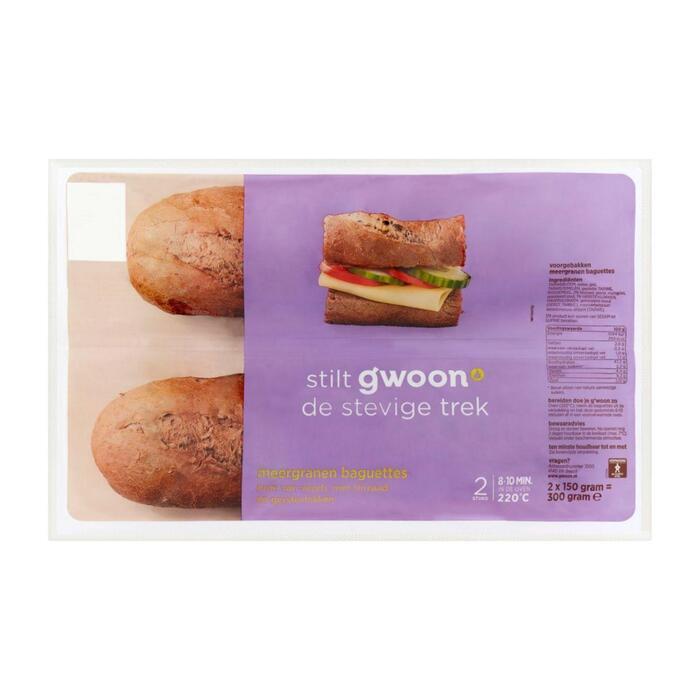 g'woon Baguette meergranen (plastic zak, 300g)