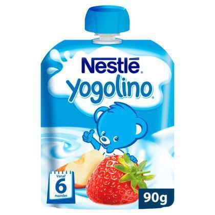 Yogolino knijpzakje Appel-Aardbei 6 mn (90g)
