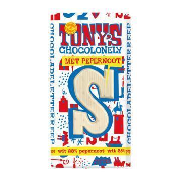 Tony's Chocolonely Witte chocolade letterreep Pepernoot (180g)