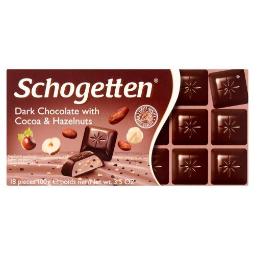 Dark Chocolate with Cocoa & Hazelnuts  (doos, 100g)