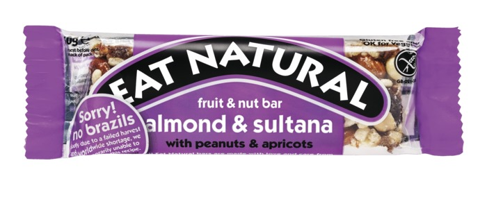 Eat Natural fruit & nut bar amandel & sultanarozijn met pinda's en abrikozen (stuk, 50g)