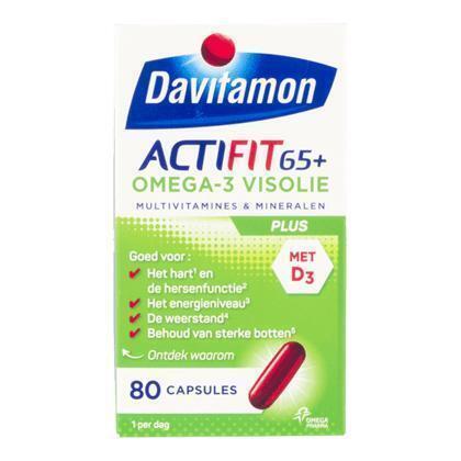 Davitamon Actifit 65+ Omega-3 Visolie Plus 80 Capsules (89g)
