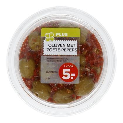 Olijven met zoete pepers (150g)