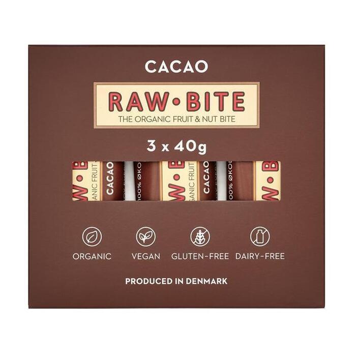 Rawbite Organic fruit & nut bar with cacao (3 × 120g)