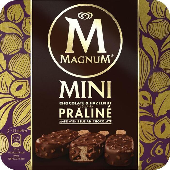 Magnum Mini hazelnut praline (6 × 55ml)