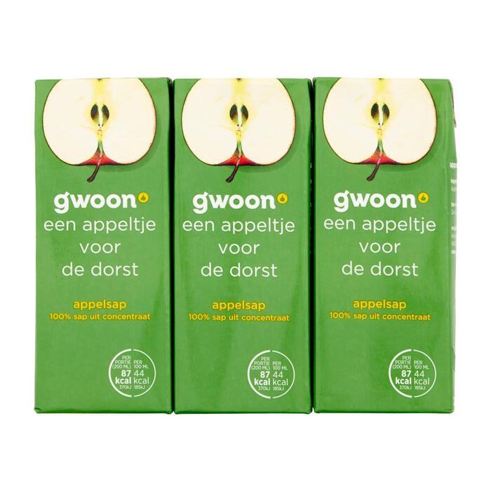 g'woon Appelsap pak 6 x 20 cl (6 × 200ml)