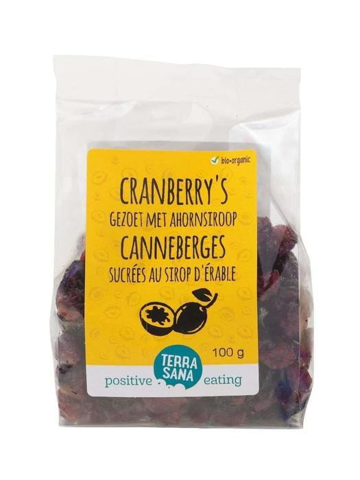 Cranberry's gedroogd, gezoet met riet & ahorn TerraSana 100g (100g)