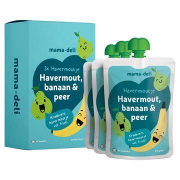 Mama deli Havermoutje banaan & peer 8+ mnd (3 × 90g)