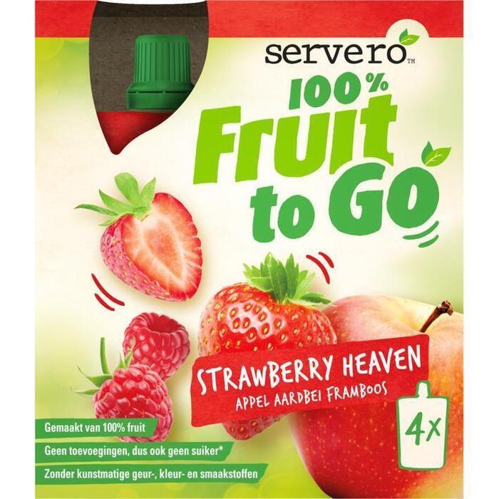 SERVERO 100% FRUIT TO GO STRAWBERRY HEAVEN 4x90G. (4 × 90g)