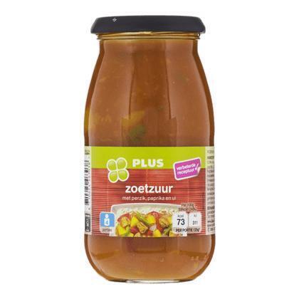 Roerbaksaus zoetzuur met perzik, tomaat en paprika (pot, 0.5L)