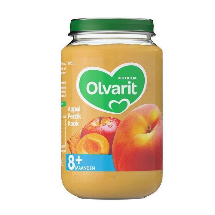 Olvarit Appel, perzik en koek 8+ maanden (200g)