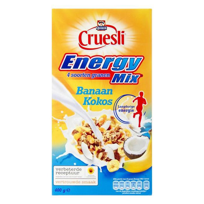 Quaker Cruesli energymix banaan & kokos (400g)