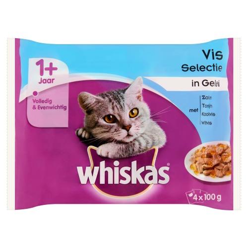 Whiskas Vis Selectie in Gelei 1+ Jaar 4 x 100 g (4 × 100g)