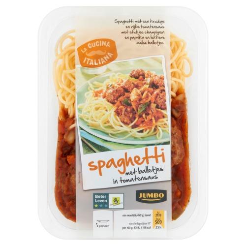 Jumbo Spaghetti met Balletjes in Tomatensaus 450g (450g)
