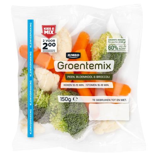 Jumbo Groentemix Peen, Bloemkool & Broccoli Kleinverpakking 150 g (150g)
