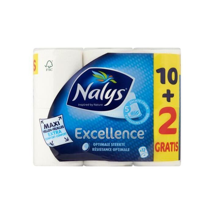 Nalys Excellence 5-Laags Maxi-Vel Toiletpapier 10+2 Gratis (rollen)