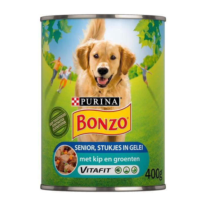 Bonzo Senior met Vlees en Groenten in Gelei 400 g (Stuk, 400g)