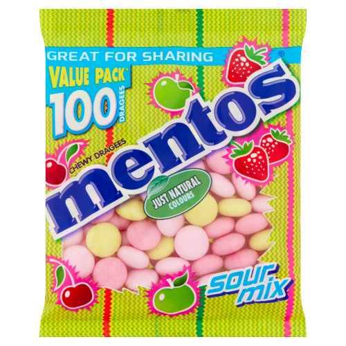 Mentos Chewy Dragees Sour Mix Value Pack 100 Stuks 300 g (300g)