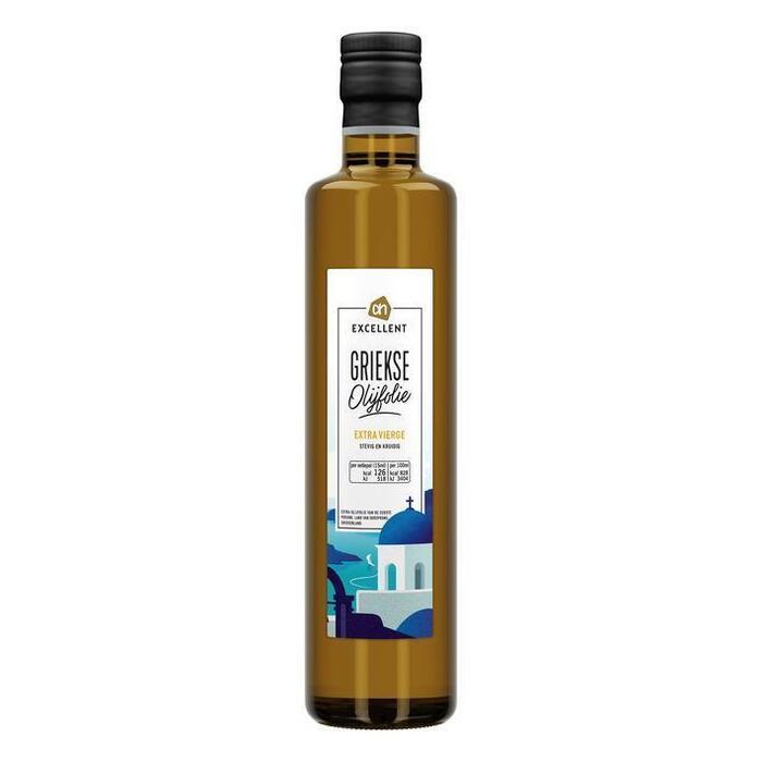 AH Excellent Olijfolie extra vierge Grieks (glazen fles, 0.5L)