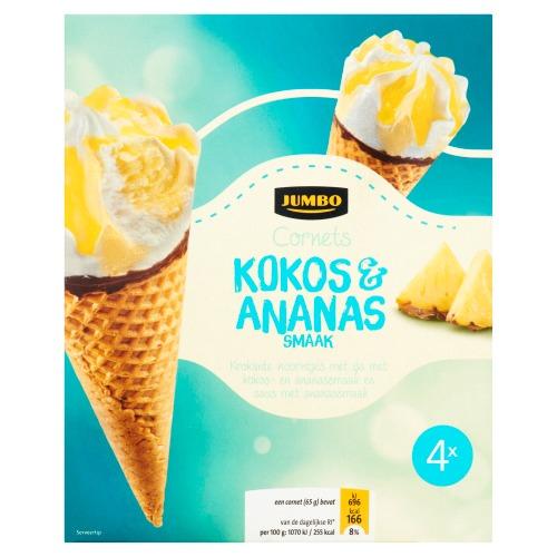 Jumbo Cornets Kokos & Ananas Smaak 4 x 110 ml (4 × 110ml)