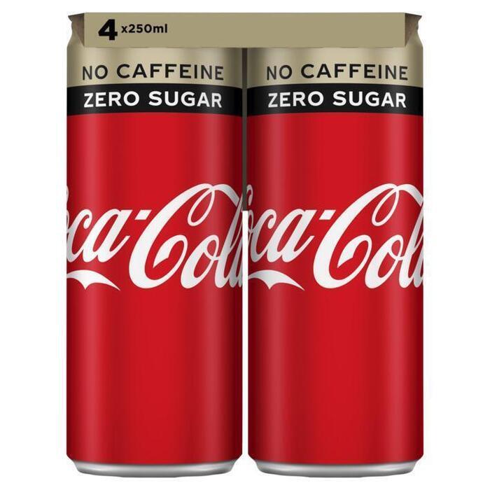 Coca-Cola Zero Caffeine-vrij Blik 0.25L 1x (rol, 4 × 250ml)