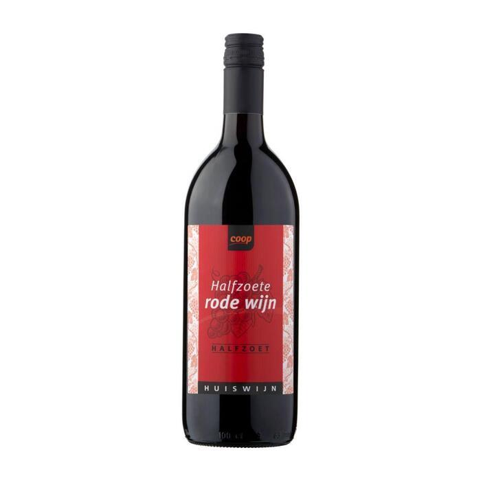 Coop Halfzoete rode huiswijn (fles, 1L)