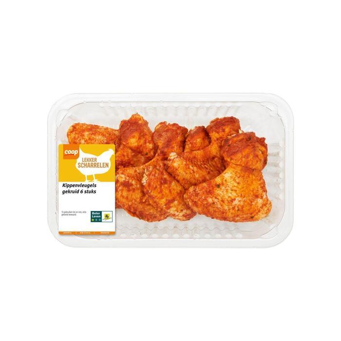 Scharrel kipvleugels gekruid 6 stuks (540g)