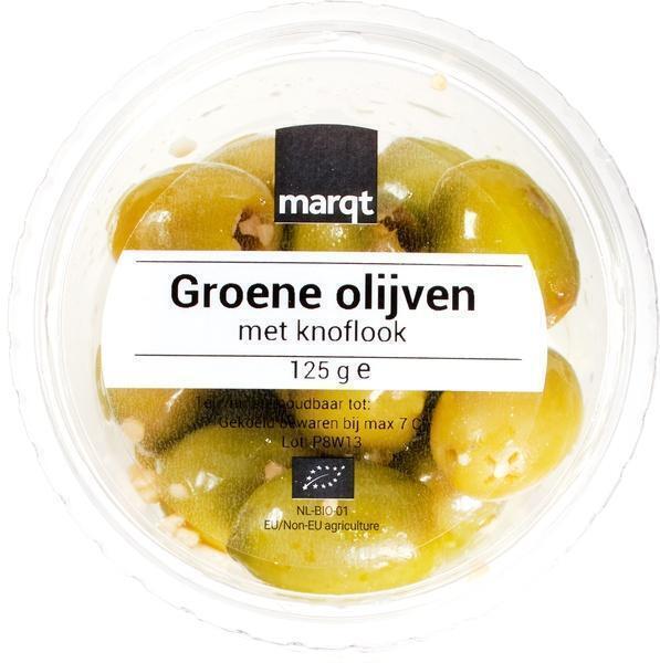 Groene olijven met knoflook (125g)