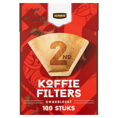 Jumbo Koffiefilters No. 2 Ongebleekt 100 Stuks