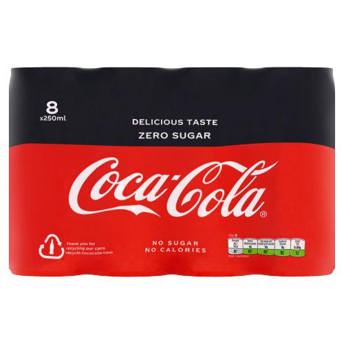 Coca-Cola Zero (rol, 8 × 250ml)