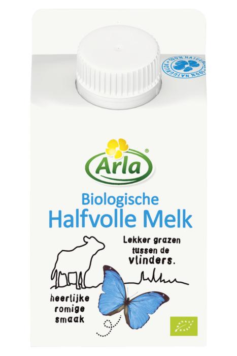 Arla biologische halfvolle melk 0,25L minicross (250ml)