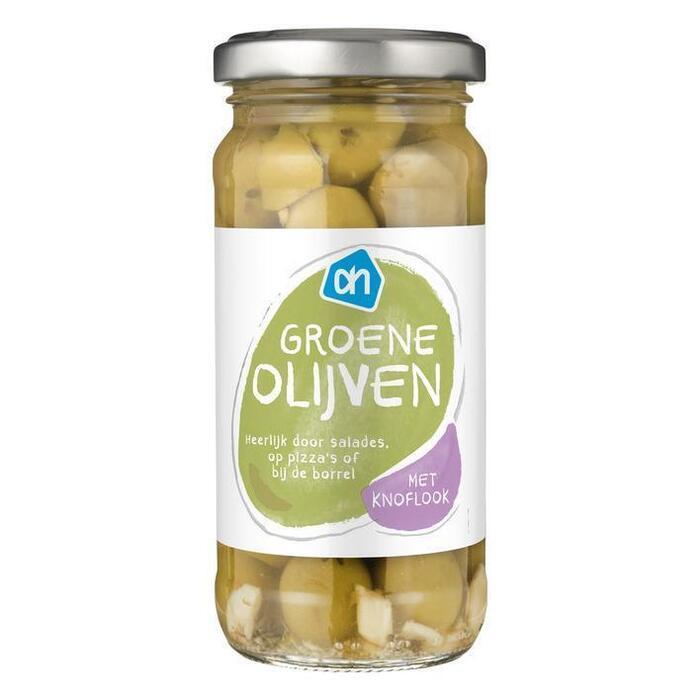 AH Groene olijven met knoflook (240g)