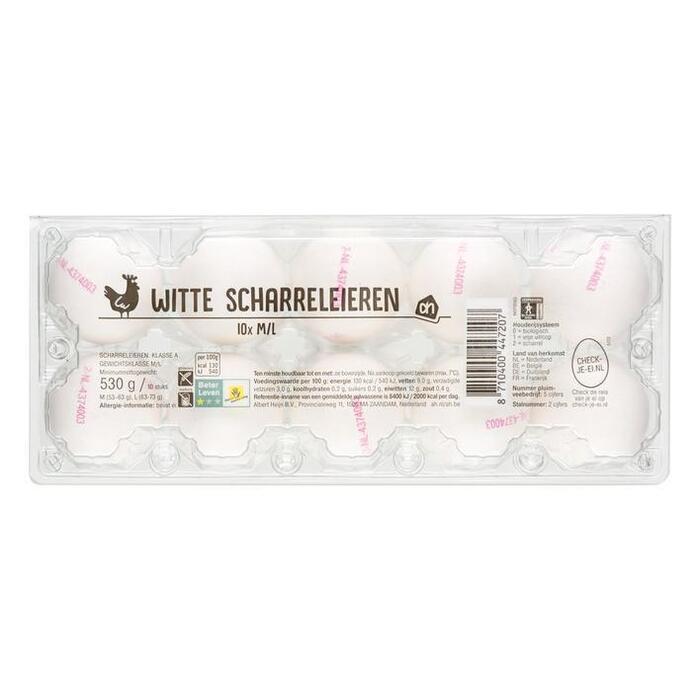 Witte scharreleieren (bak, 10 stuks) (10 × 530g)