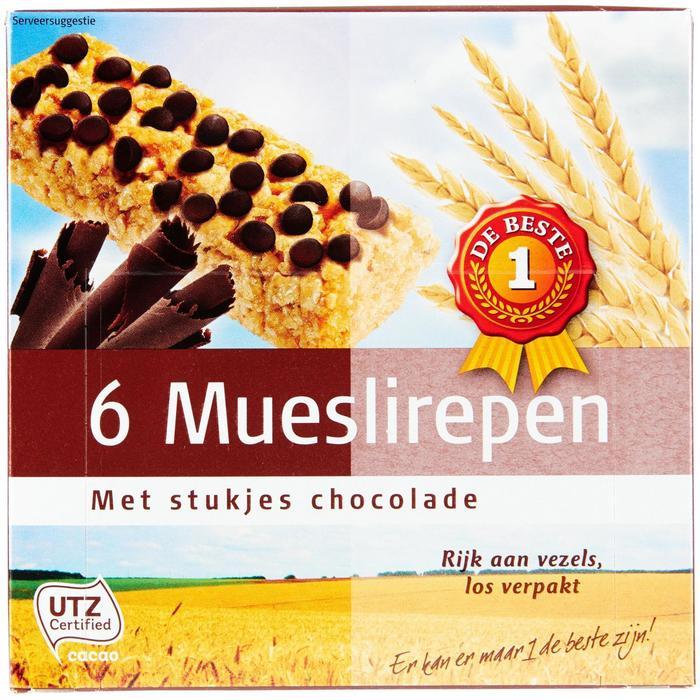 1 de Beste Meuslirepen chocolade 6 STUKS (6 × 23g)