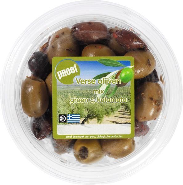 Mix van verse groene olijven pitloos (115g)
