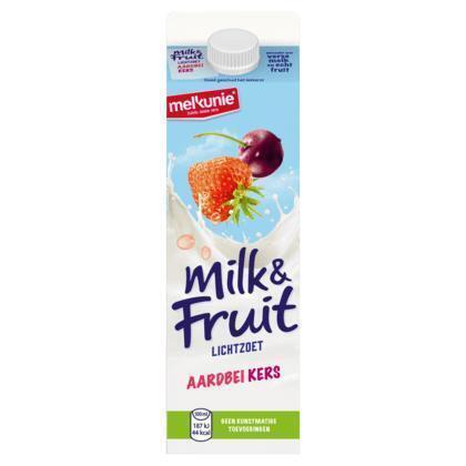 Milk & Fruit Aardbei & Kers (pak, 1L)