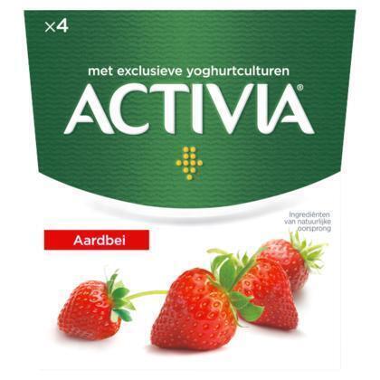 Danone Activia yoghurt aardbei (4 × 500g)