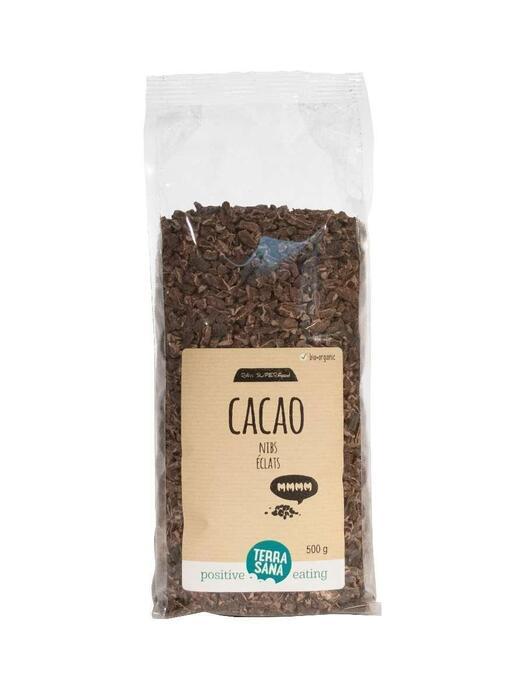 RAW Cacao Nibs -voordeelpak- TerraSana 500g (500g)