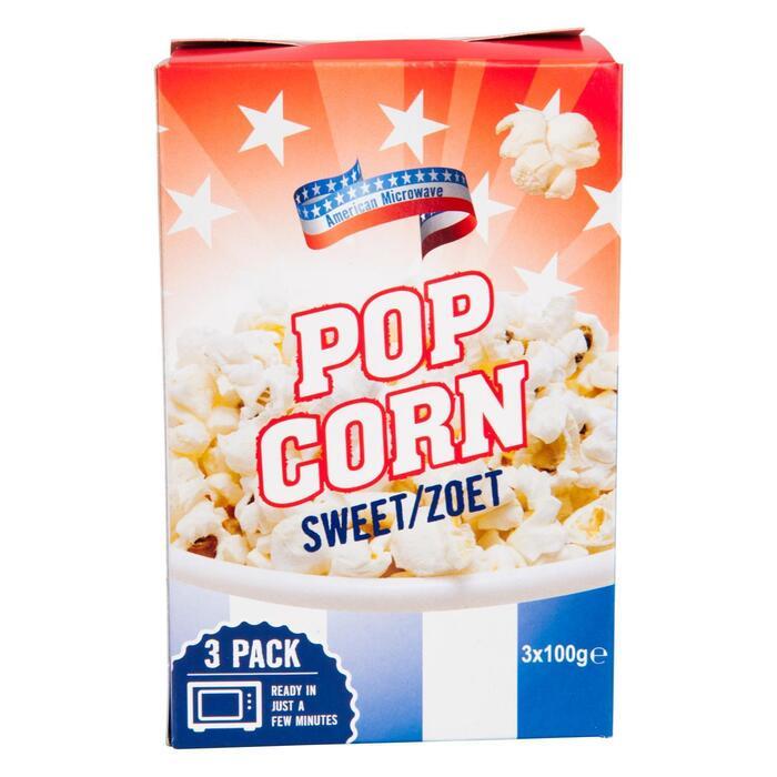 American Microwave Popcorn Zoet (3x100 gram) (300g)