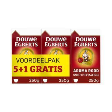 DOUWE EGBERTS AROMA ROOD KOFFIE SNELFILTER MALING 1500G 5+1 VACUUM PACK (6 × 250g)