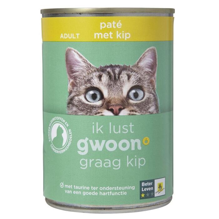 g'woon Kattenvoer adult paté met kip (400g)