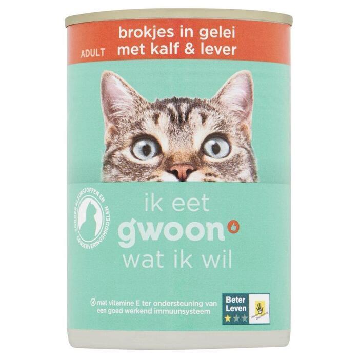 g'woon Kattenvoer adult brokjes in gelei met kalf & lever (405g)