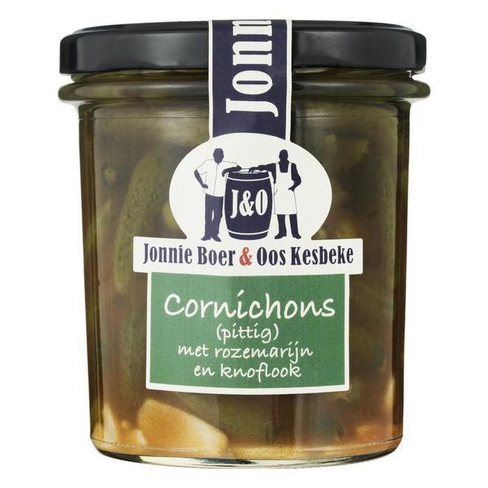 J&O, Cornichons met rozemarijn en knoflook (pot, 35cl)