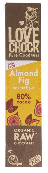 Pure chocolade met amandelen en vijgen (reep, 40g)