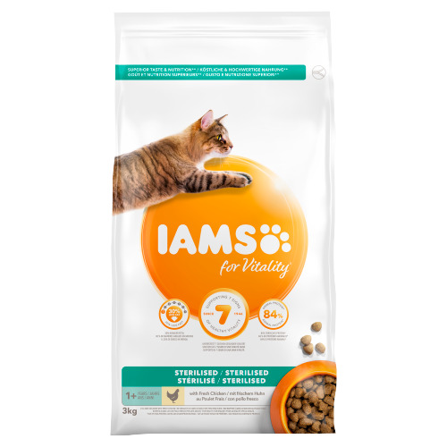 Iams for Vitality Sterilised 1+ Years with Fresh Chicken 3 kg (3kg)
