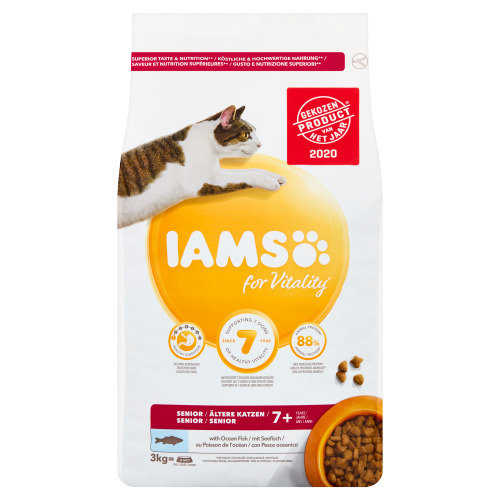 Iams for Vitality Senior 7+ Years with Ocean Fish 3 kg (3kg)