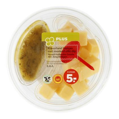 Kaasblokjes 48+ met mosterd dille dip (70g)