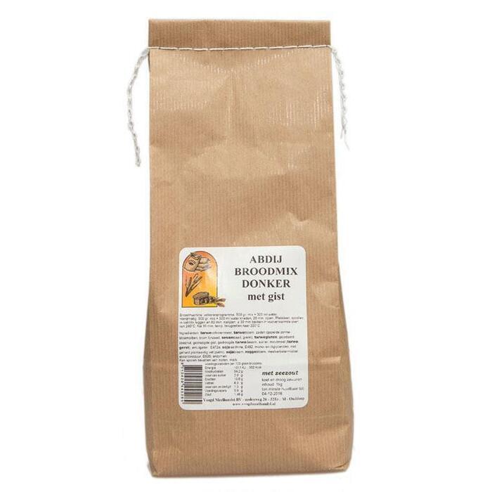 Abdij Broodmix Donker mer gist (zak, 1kg)