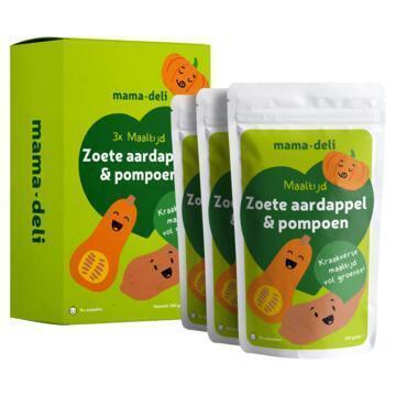 Mama deli Zoete aardappel & pompoen 4+ mnd (3 × 120g)