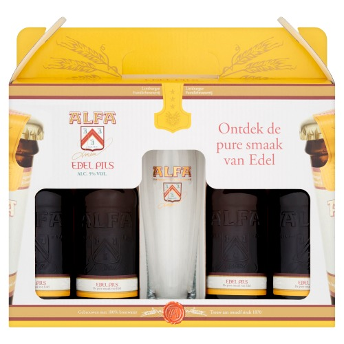 Alfa Edel Pils Pakket 4x30cl.+ glas (1.2L)
